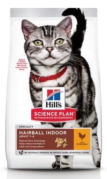 Hill's Science Plan Hairball Indoor сухой корм для выведения шерсти из желудка у домашних кошек с курицей