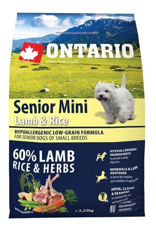 Ontario Senior Mini Lamb & Rice  Сухой корм для пожилых собак малых пород с ягненком и рисом