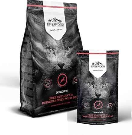 Riverwood Outdoor Cat  Сухой беззерновой корм для кошек бывающих на улице с Оленем, уткой и диким кабаном